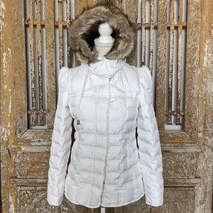 JUICY COUTURE WHITE PUFFER JACKET FAUX FUR HOOD S